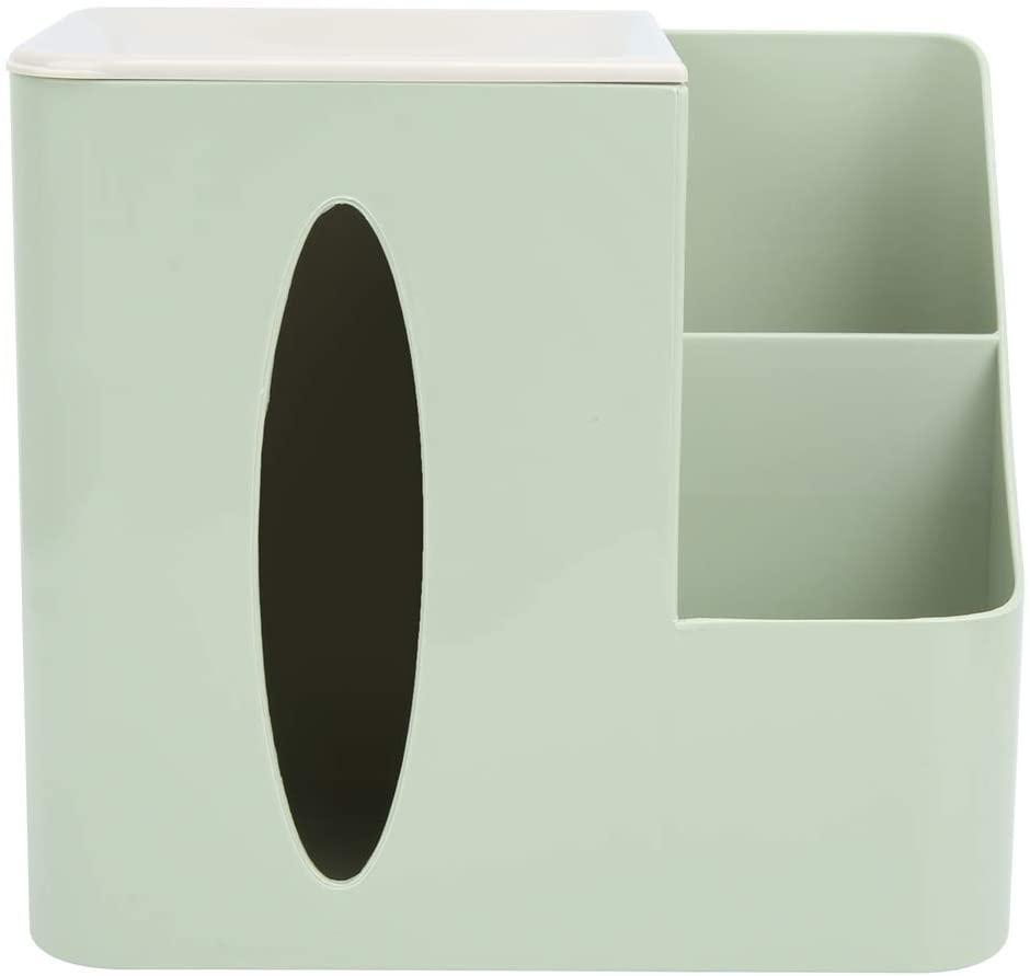 Tissue Holder - Multi-Grid Bathroom Facial Tissue Box Living Room Remote Control Storage Box Tissue Holder Organizer for Home(Green)