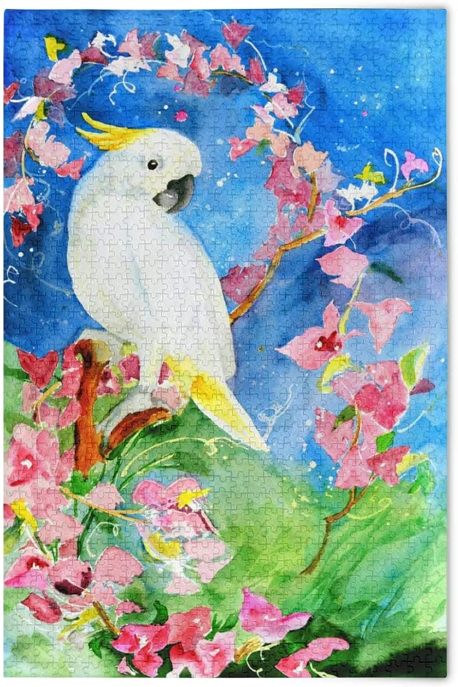 vvfelixl Watercolor Painting of Sulfur Crested Cockatoo White Parrot Jigsaw Puzzle Wooden Puzzles DIY Gift Child Fun Family Game 500 Pieces Puzzles for Kids Adults