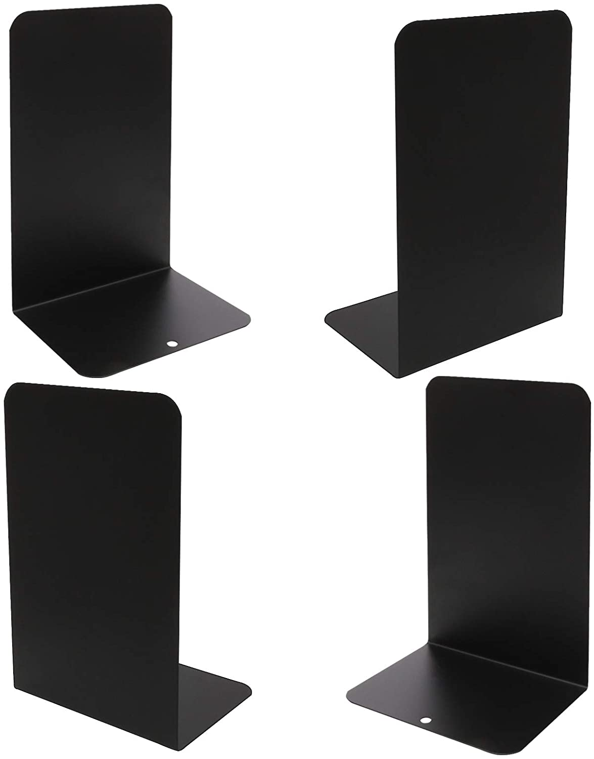 OrdLive 4 Pack L Shaped Anti-Skid Bookends, Modern Bookends 8 x 4 x 5.3 Inch, OrdLive Decorative Metal Nonskid Book Ends Supports for Books, Movies, DVDs, Magazines, Video Games, Standard (Black)