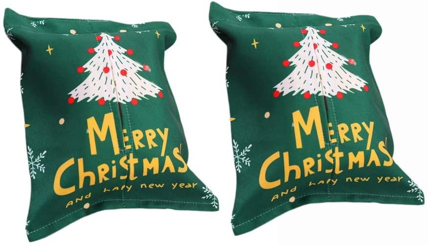 2pcs Cute CHRISTMAS Tissue Box Cover Cloth Tissue Paper Box Holder Xmas Desktop Decoration Ornaments (Xmas Tree Pattern)