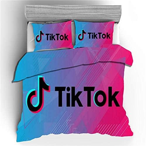 TIK Tok King Size Bedding Set Black and White Logo Patterns 2 Piece Duvet Cover Sets, 1 Duvet Cover + 2 Pillowcase