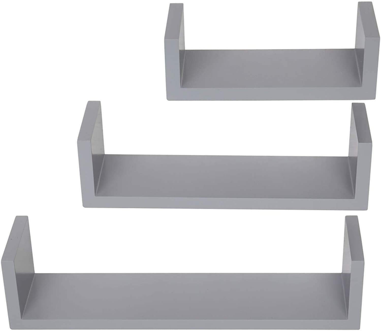 MITPATY Set of 3, Floating Display Shelves Ledge Bookshelf Wall Mount Storage Gray Floating Shelves Wall Mounted - Decorative Storage Shelf, Multi-use Home Studio Furniture