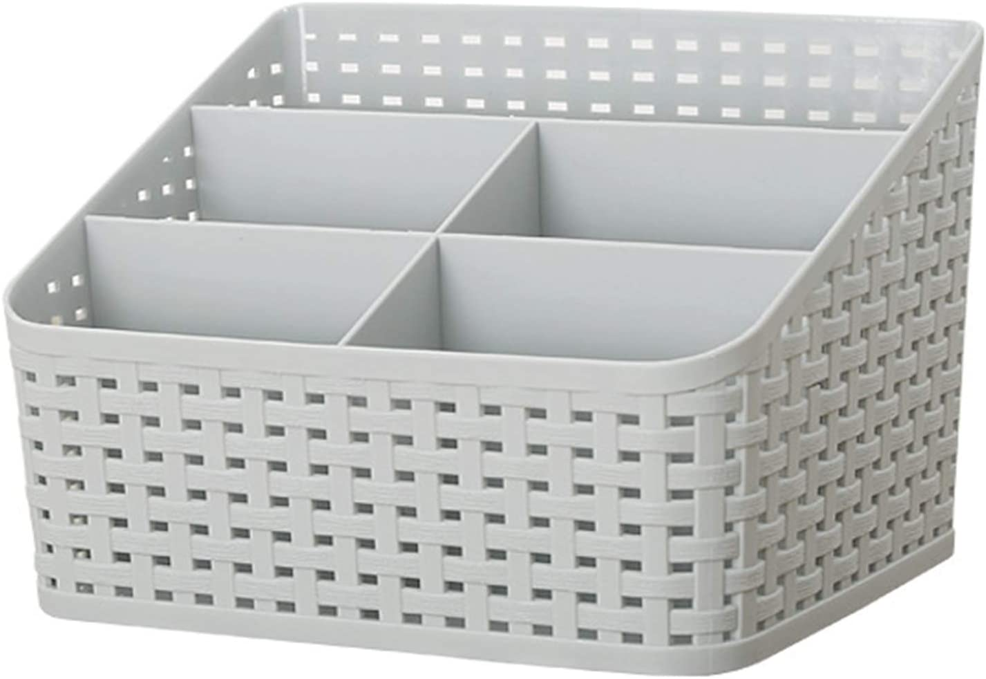 WOFUYOU Premium Multi-Purpose 5 Compartments Rattan Storage Plastic Basket with Mesh Hollow Design for Makeup Room Office Desk Shower Kitchen (Grey)