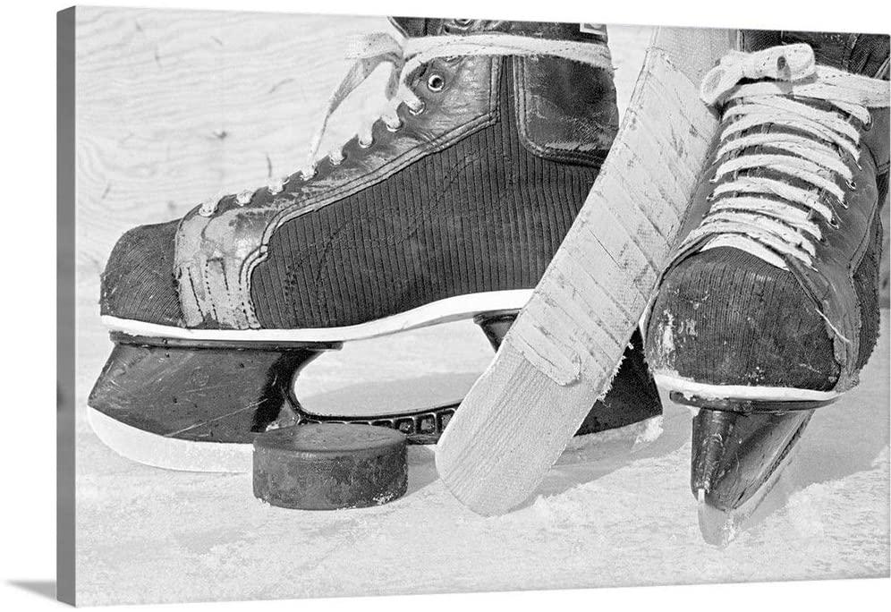 Hockey Skates and Puck Canvas Wall Art Print, 60