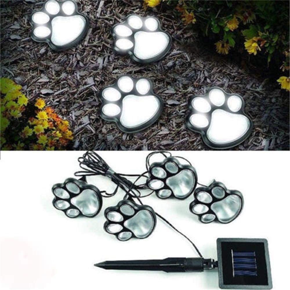 VRRYE Solar Dog Cat Paw Print Outdoor LED Path Lamp Pet Dog Cat Lover Lights, Bright Energy Efficient Garden Lights Solar Lawn lamp Walkway Lighting Lights