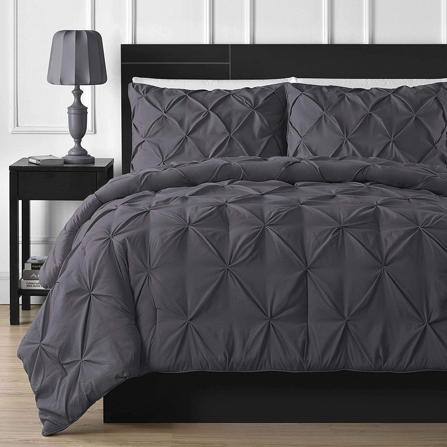 Pinch Pleated Duvet Cover Set Super King 108'' x 98'' Size 3pc Duvet Cover with Zipper Closure & Corner Ties, Pintuck Decorative (100% Natural Cotton) 920 Thread Count - Dark Grey Solid