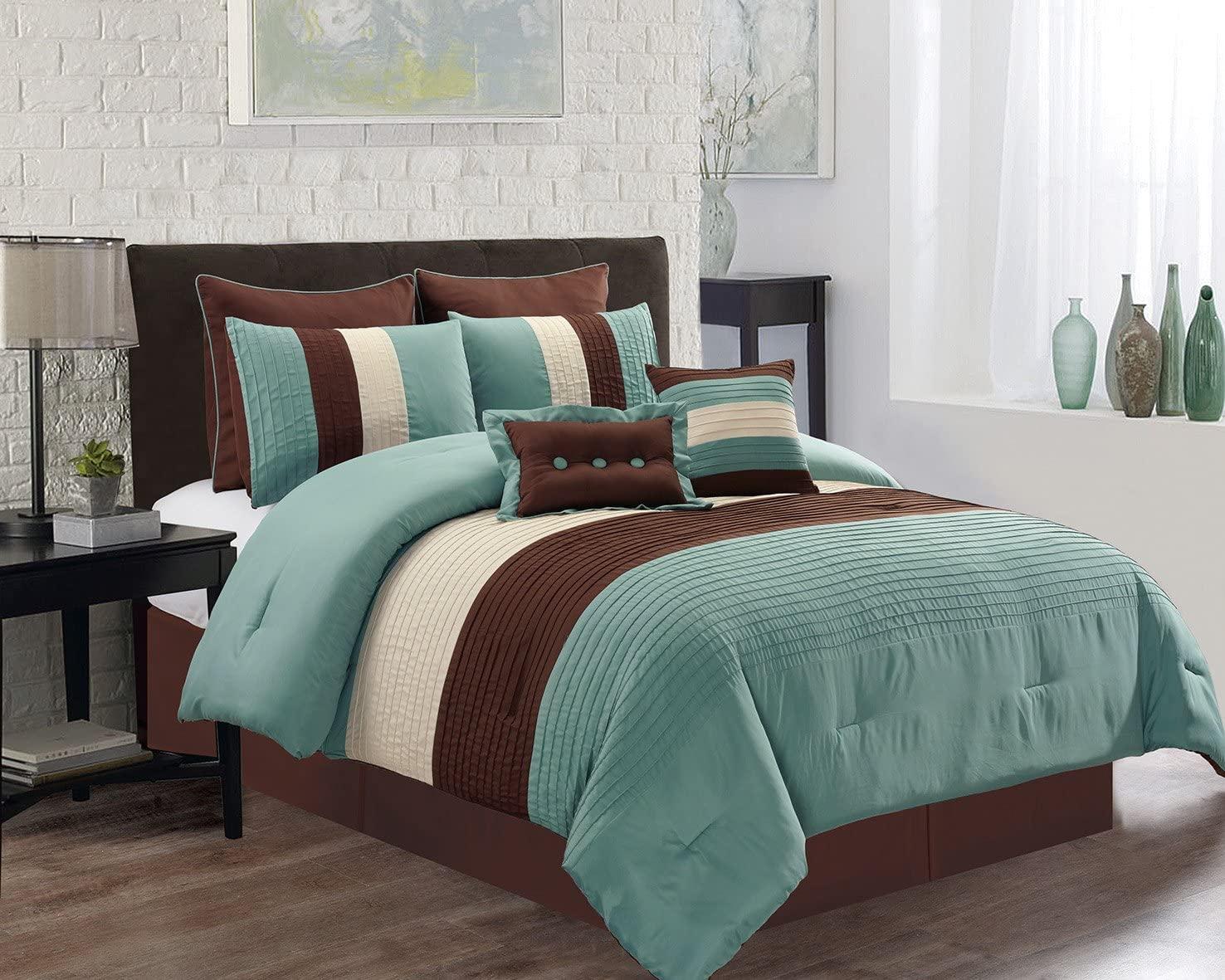 Grand Linen 8 Piece King Size Light Silver Blue/Brown/Beige Pin Tuck Stripe Regatta Goose Down Alternative Comforter Set 104