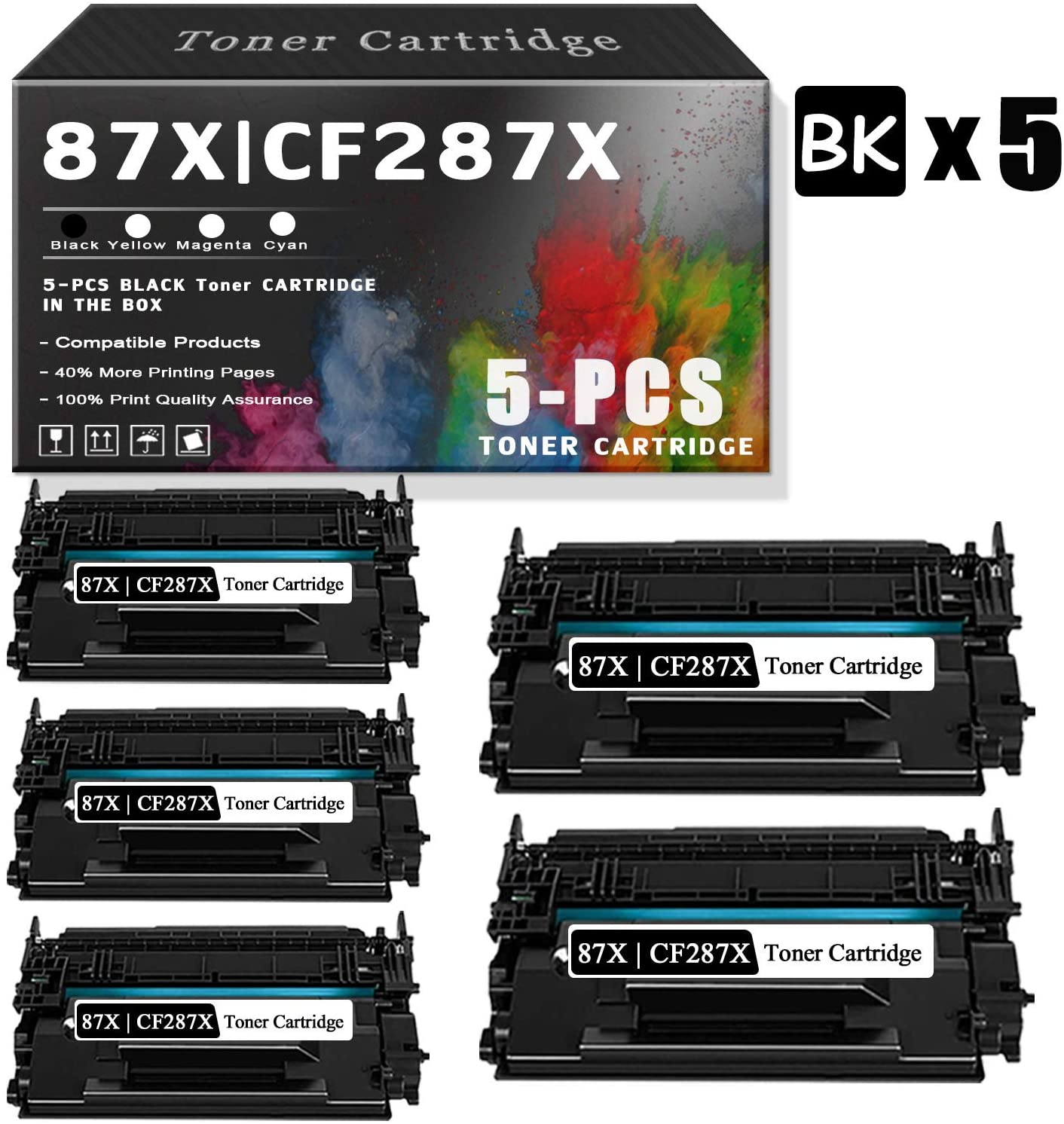 5-Pack 87X   CF287X Black TonerCartridgeCompatible for HP InkCartridgeReplacementforHP Laserjet Managed M506xm M506dnm Enterprise M506n M506dn MFP M527dn M527f Flow MFP M527z M527cPrinters.