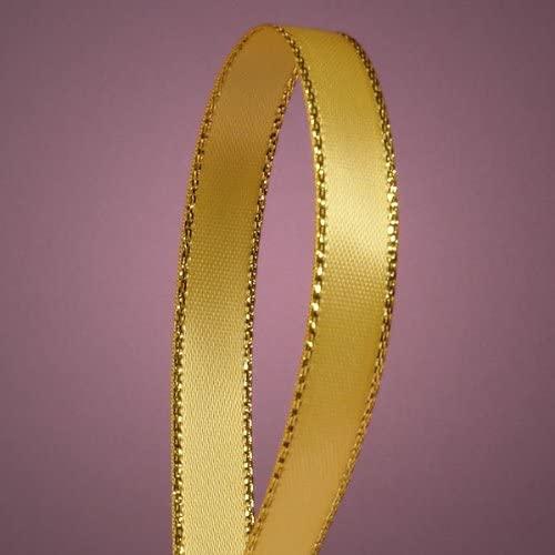 Light Gold Satin Ribbon with Gold Edges, 3/8