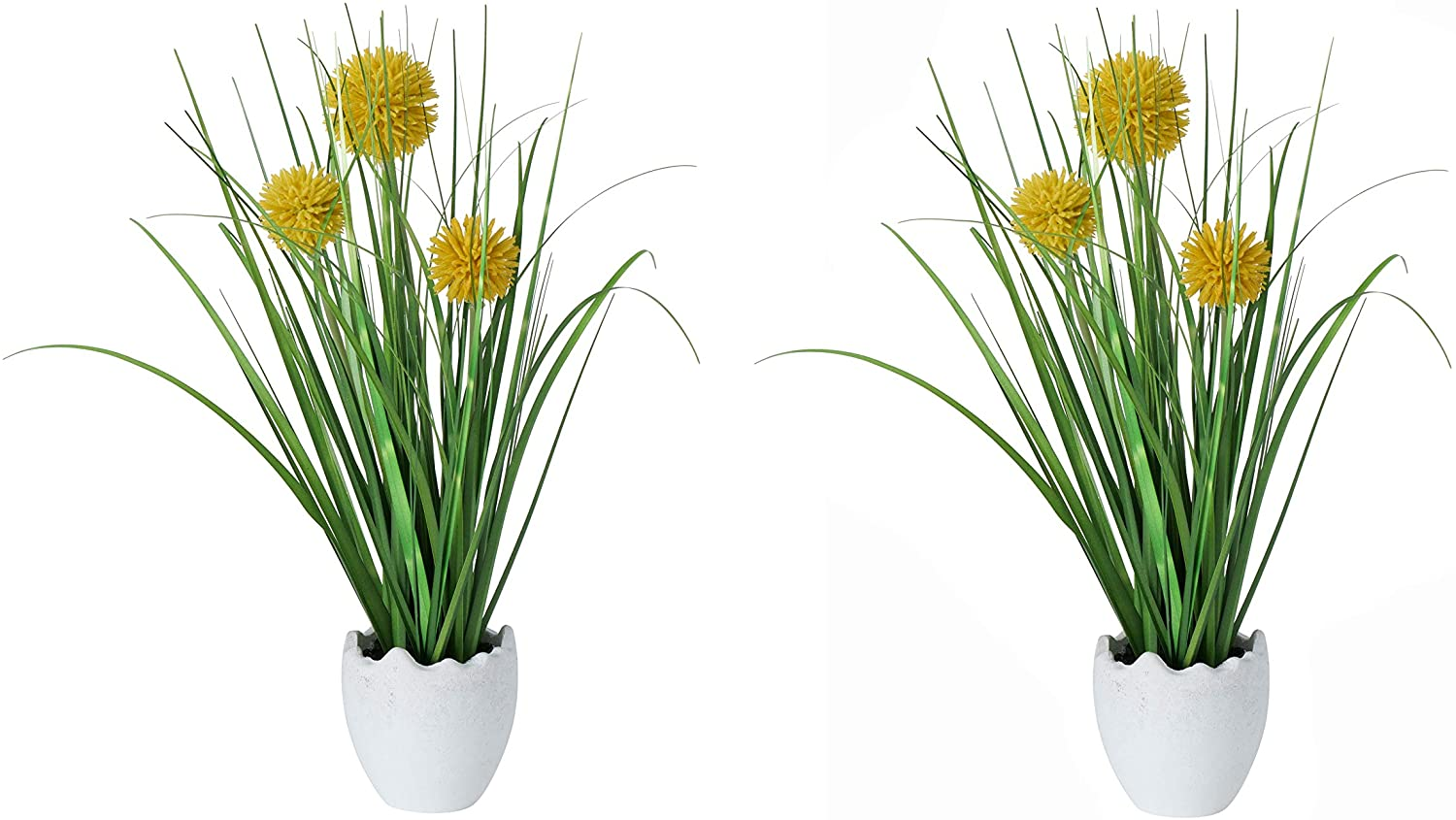 WHW Whole House Worlds Faux Billy Button Pom-pom Grass in Egg Pot, Set of 2, Pop Yellow, Spring Green and Shell White, 6.0 D x 10.25 H Inches, Artificial Craspedia