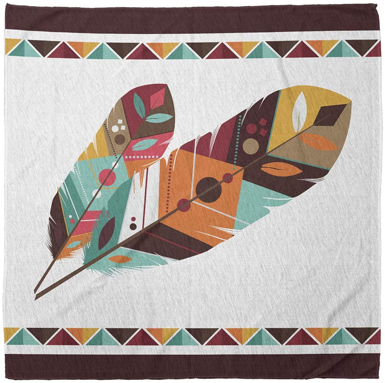 Lunarable Unisex Bandana, Art Colorful Feathers Native Folk, Multicolor