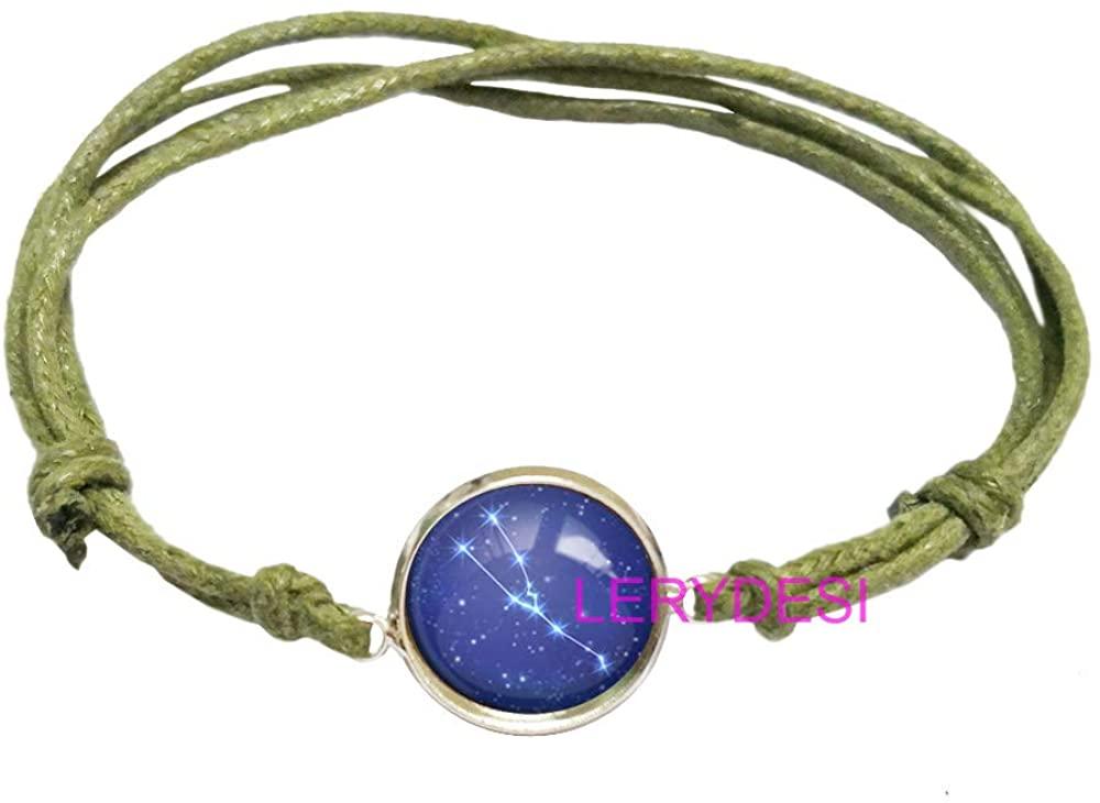 LERYDESI Horoscope Bracelet Zodiac Sign Pendant Blue Starry Sky Constellation Jewelry Unisex Art Gift for Men for Women Rope Color Optional
