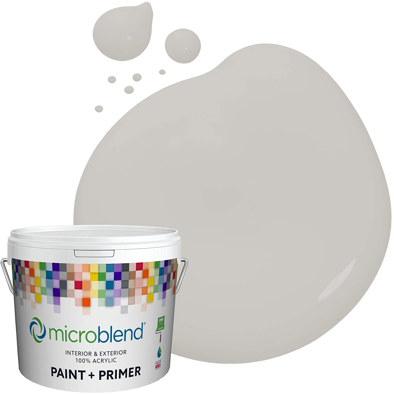 Microblend Exterior Paint and Primer - Gray/Grey Rain, Semi-Gloss Sheen, 2-Gallon, Premium Quality, One Coat Hide, Low VOC, Washable, Microblend Sierras Collection