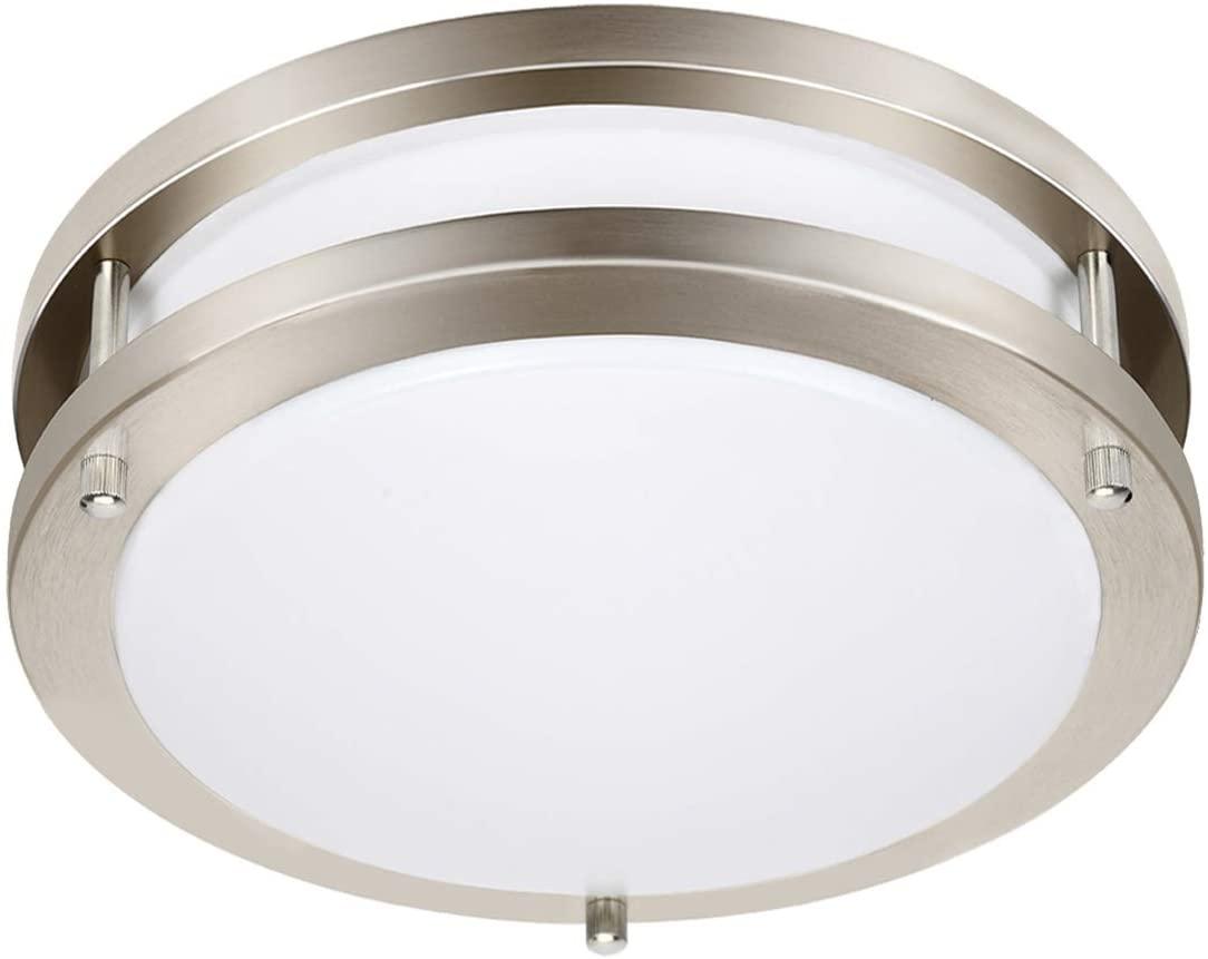 Drosbey 24W Dimmable LED Ceiling Light Fixture, Kitchen Light Fixtures, 10 inch Flush Mount Ceiling Lights for Bedroom, Bathroom, 3000K/4000K/5000K Adjustbale, Super Bright 2300LM