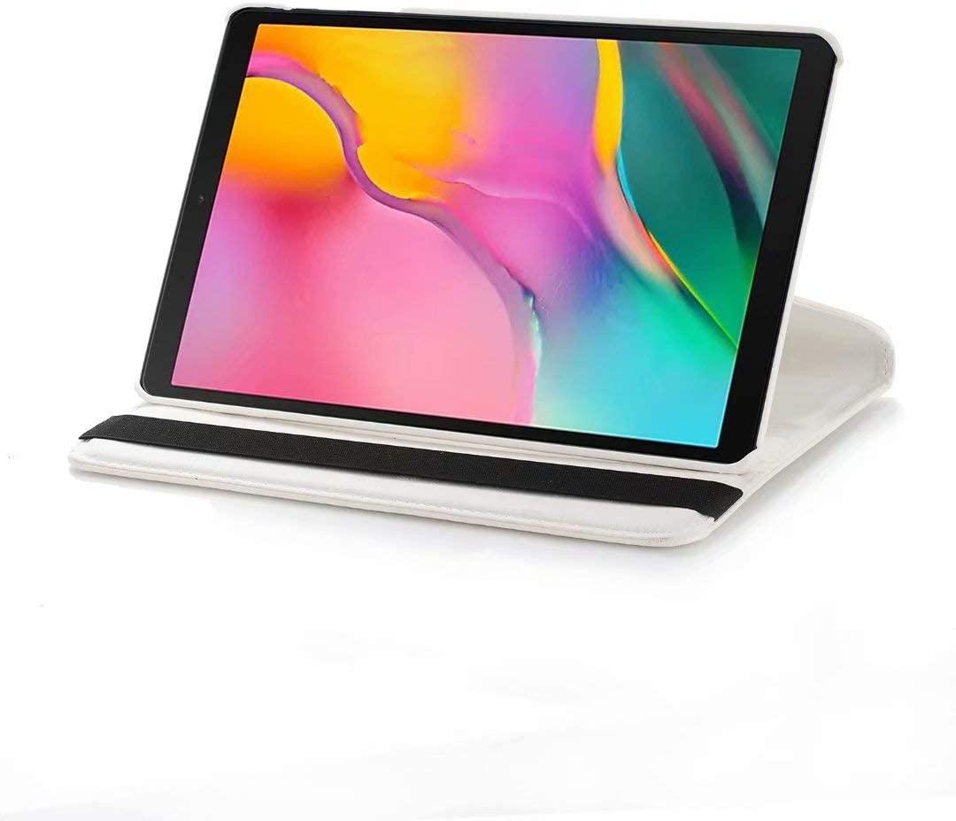 Omnpak Galaxy Tab S5e 2019 Case T720 T725-360 Rotating Multi-Angle Viewing Stand Folio Case Cover for Galaxy Tab S5e 10.5 Inch SM-T720 (Wi-Fi) SM-T725 (LTE) 2019 Release (Auto Wake/Sleep),White