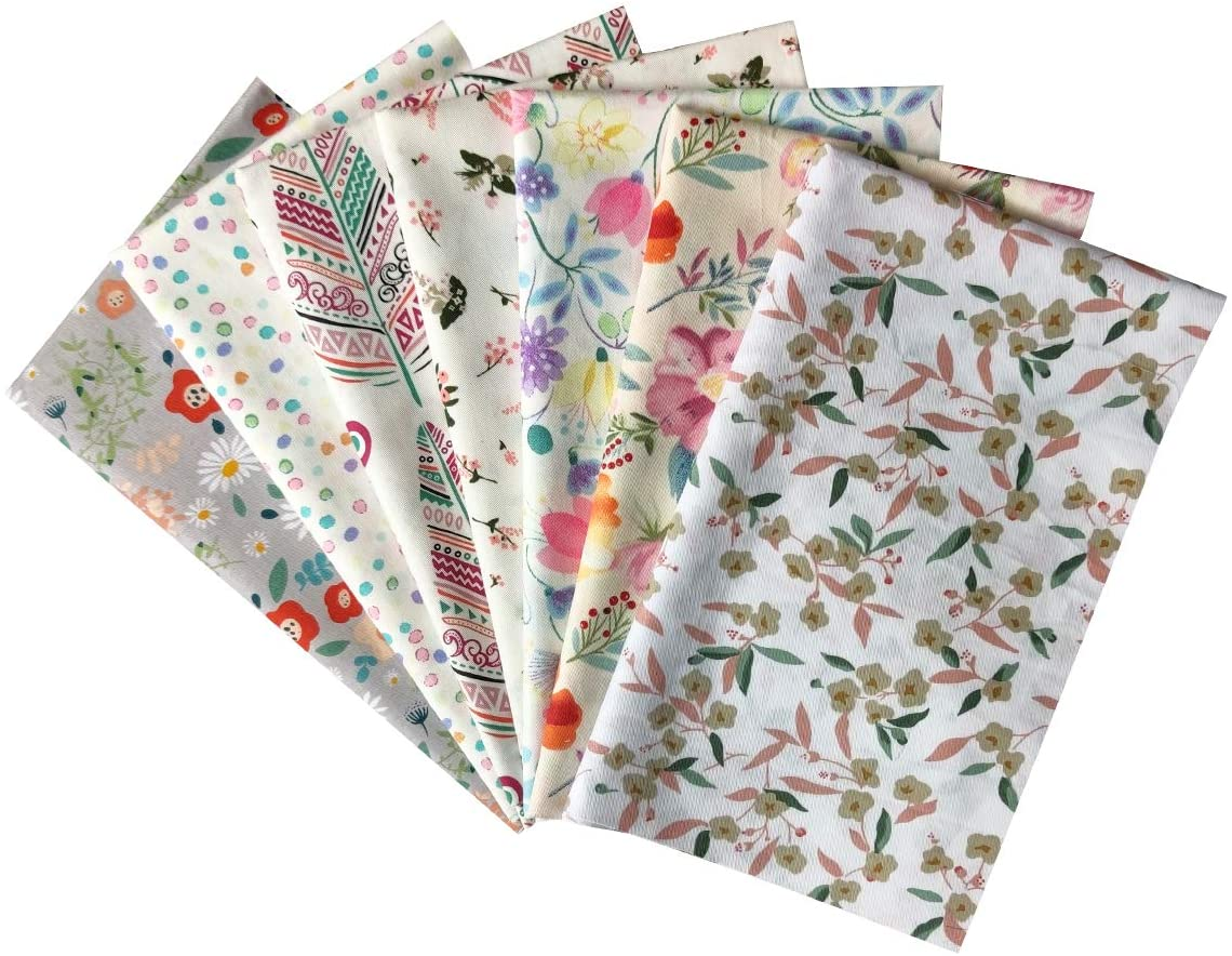 7 Pcs Flowers Series Cotton Fabric Quilting Patchwork Fabric Fat Quarter Bundles Fabric for DIY Sewing and Crafts (jp-Flower)