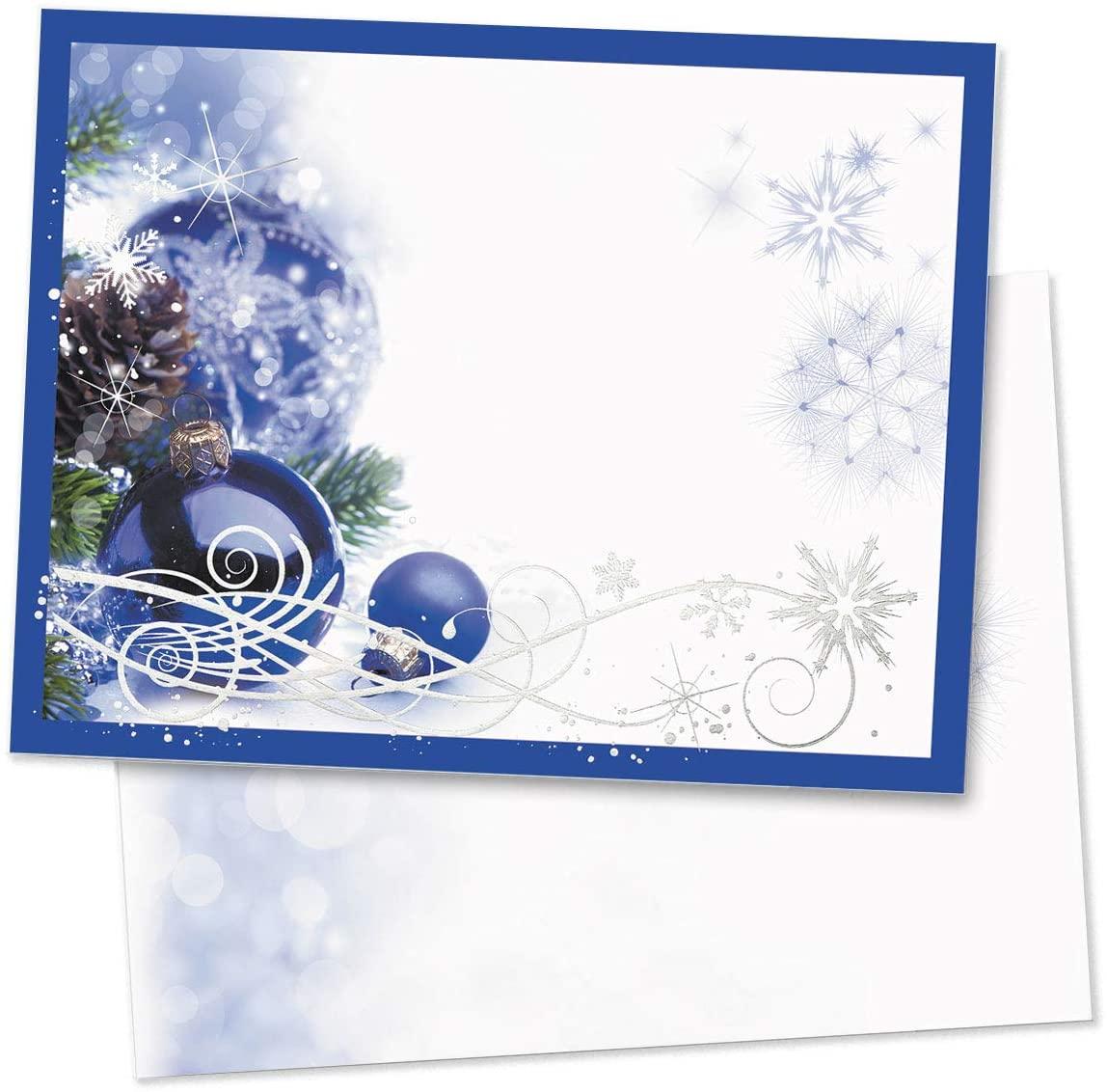 PaperDirect Sapphire Christmas Postcards, Silver Foil, Standard Size, 100 Count