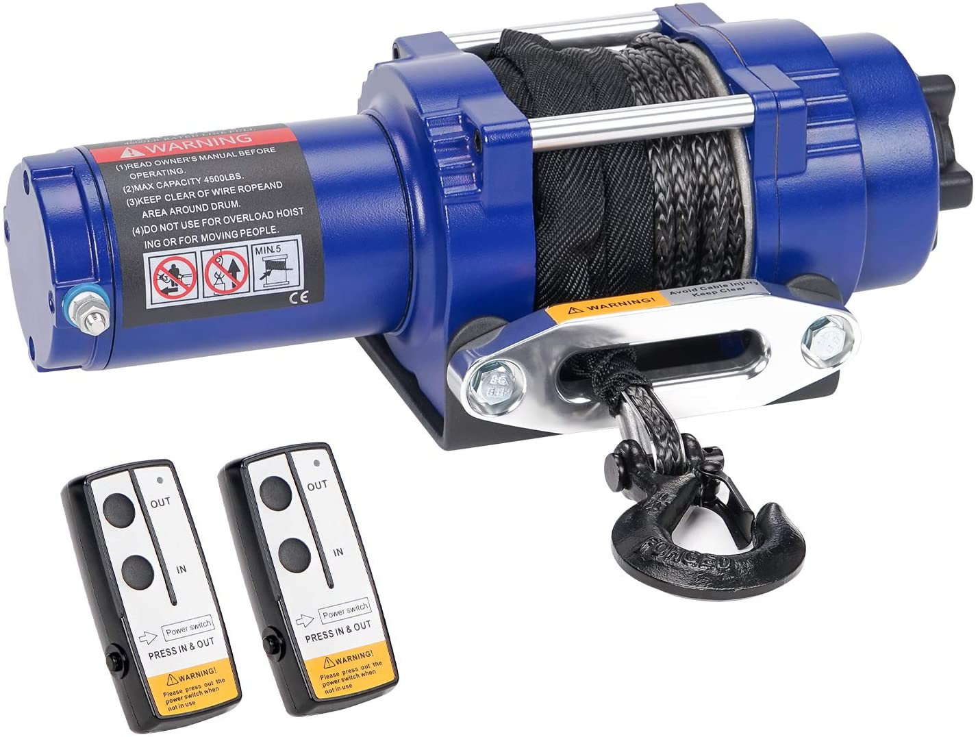 leofit Electric Winch 12V Synthetic Rope IP67 Waterproof 4500 lbs. Capacity Wireless Remote Control