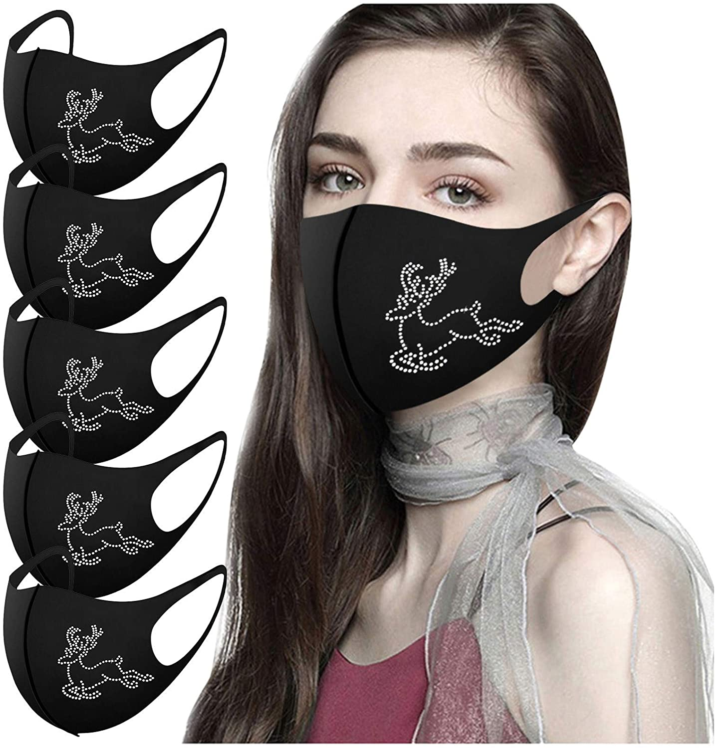 Gerichy Bling Rhinestone Facemask for Adults Christmas, Adult Face Balaclava Reusable Breathable Fashion Cloth Face_Mask
