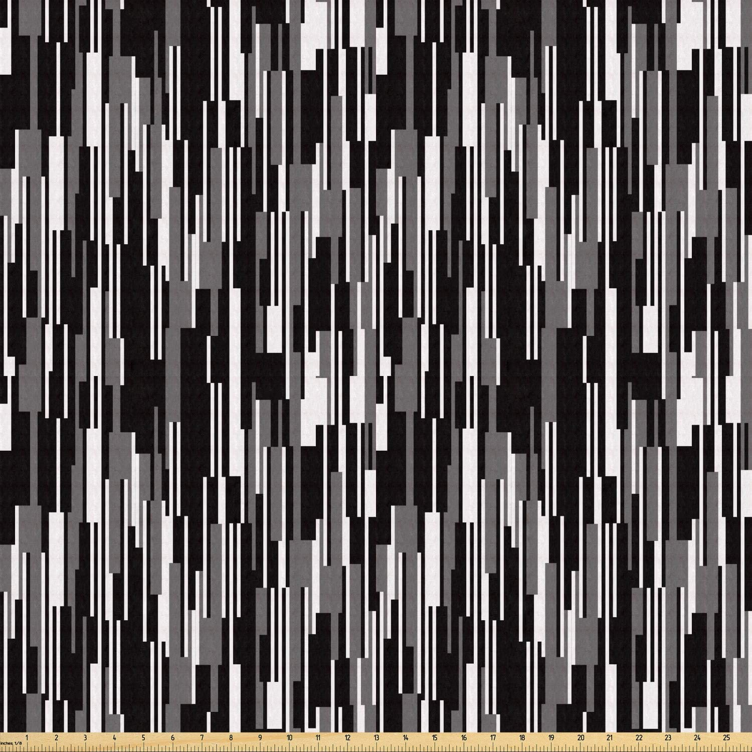 Ambesonne Black and White Fabric by The Yard, Barcode Pattern Abstraction Vertical Stripes in Grayscale Colors, Stretch Knit Fabric for Clothing Sewing and Arts Crafts, 5 Yards, Black Grey White