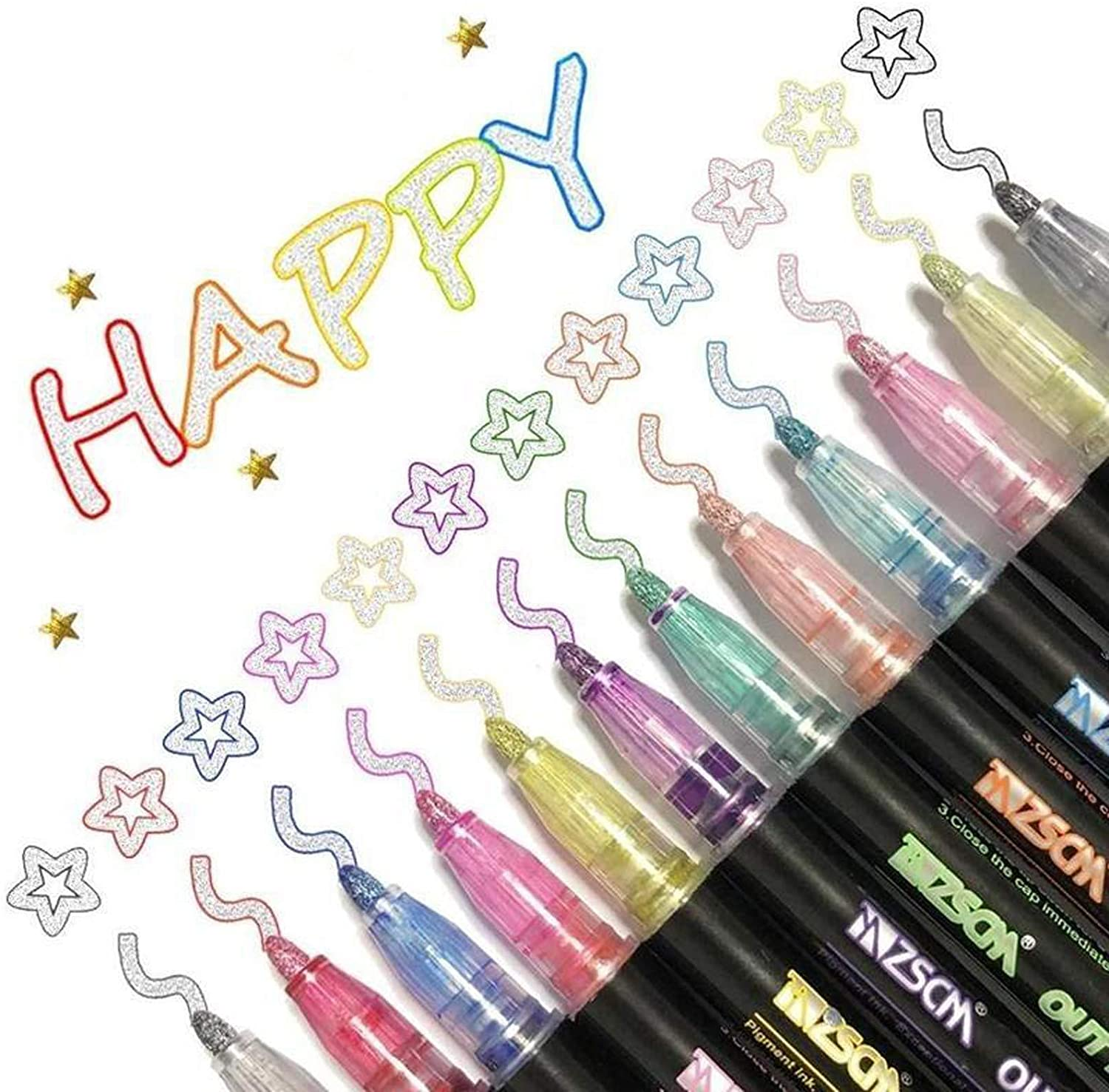 Magarbe 12PC Self-Outline Metallic Markers, Double Line Pen Journal Pens & Colored Permanent Marker Pens for Kids, Amateurs and Professionals Illustration Coloring Sketching Card Making