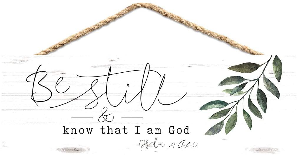 P. Graham Dunn Be Still and Know God Leaf Green 10 x 3 Pine Wood Decorative String Sign