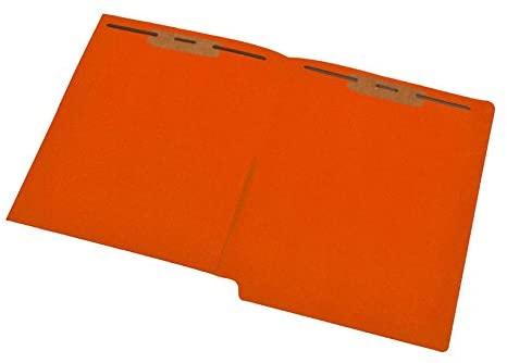 11 pt Orange Folders, Full Cut End Tab, Letter Size, 1/2 Pocket Inside Front, Fastener Pos #1 & #3 (Box of 50)