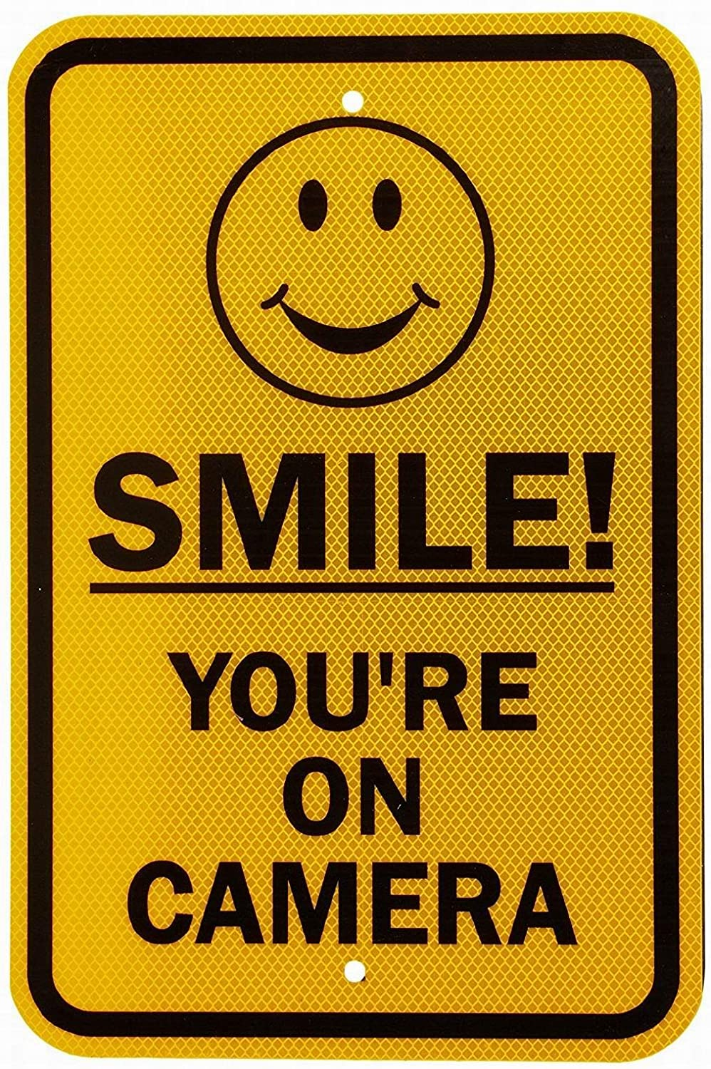 Owesoe Smile! Youre on Camera with Graphic Safety Sign Notice Sign 12x16 Street Road Warning Sign Wall Decor