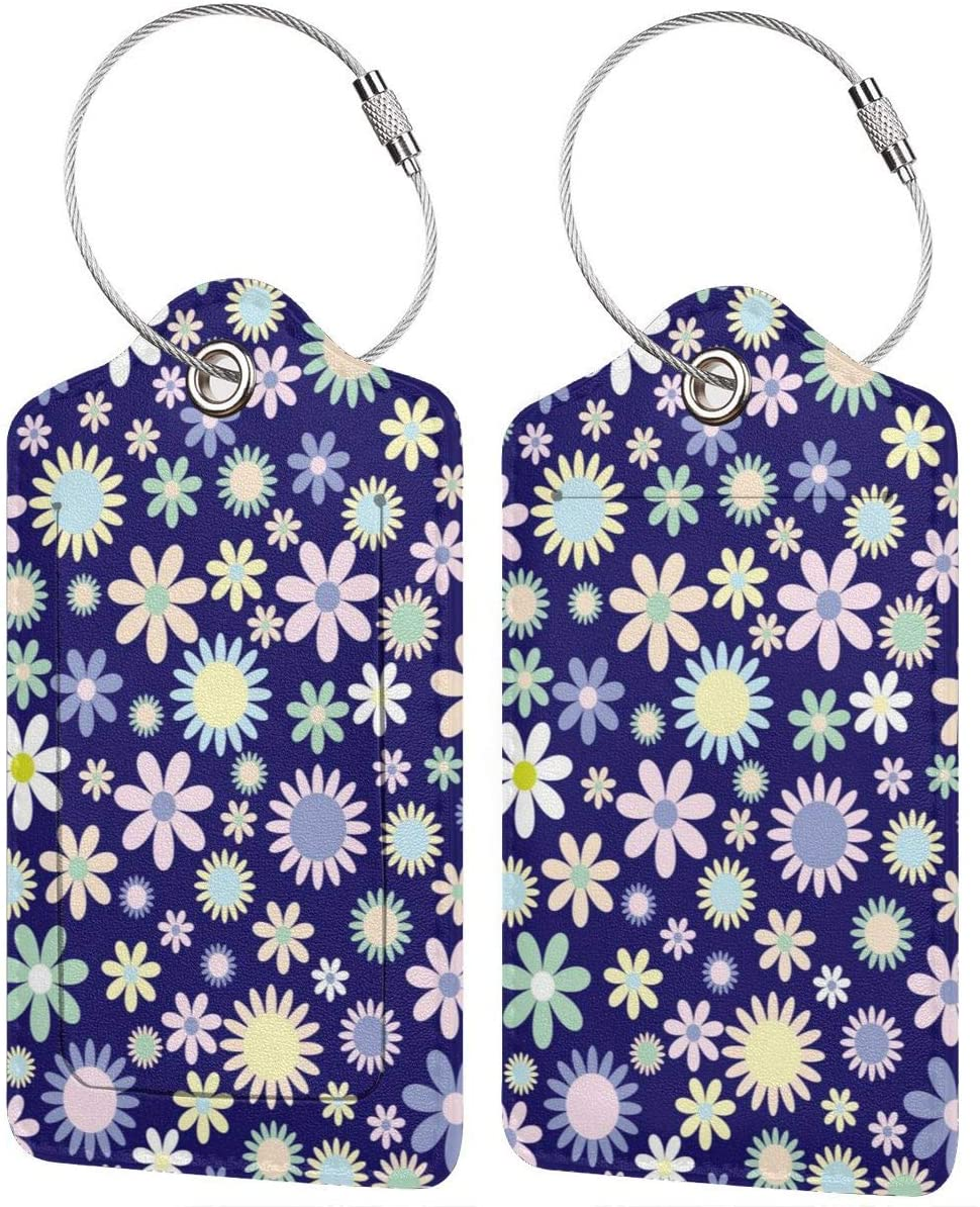 Purple Flowers Luggage Tag Leather Baggage Tag Travel Business Accessories