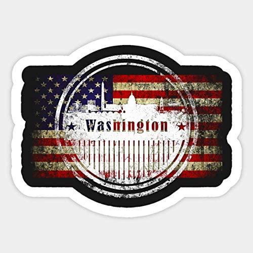 Washington D.C. Silhouette with US Flag - Sticker Graphic - Car Vinyl Sticker Decal Bumper Sticker for Auto Cars Trucks