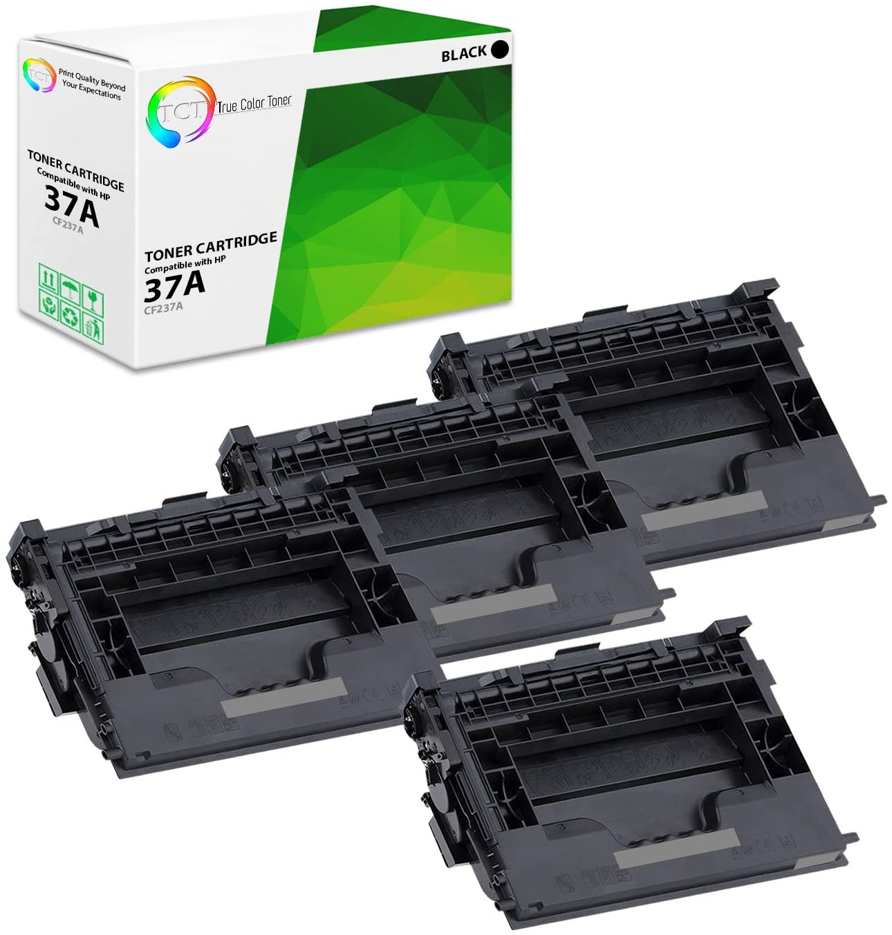 TCT Premium Compatible Toner Cartridge Replacement for HP 37A CF237A Black Works with HP Laserjet Enterprise M607 M607n M607dn M609dn, MFP M631 M633 Series Printers Printers (11,000 Pages) - 4 Pack