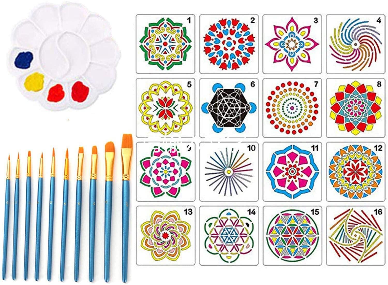 Mandala Rock Dotting Tools 27Pcs Art Painting Tools Set Including Mandala Stencils,Brush Pens and Drawing Tray for Mandala Crafts