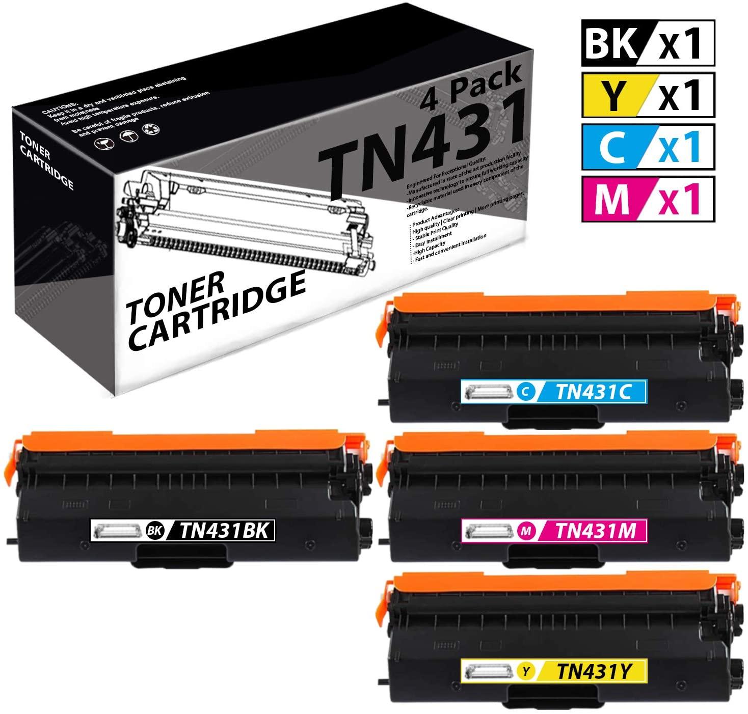TN431(4 Pack-1K+1C+1M+1Y) Compatible Toner Cartridge Replacement for Brother HL-L8260CDW L8360CDW L8360CDWT DCP-L8410CDW MFC-L8610CDW L8690CDW L9570CDWT Printer.