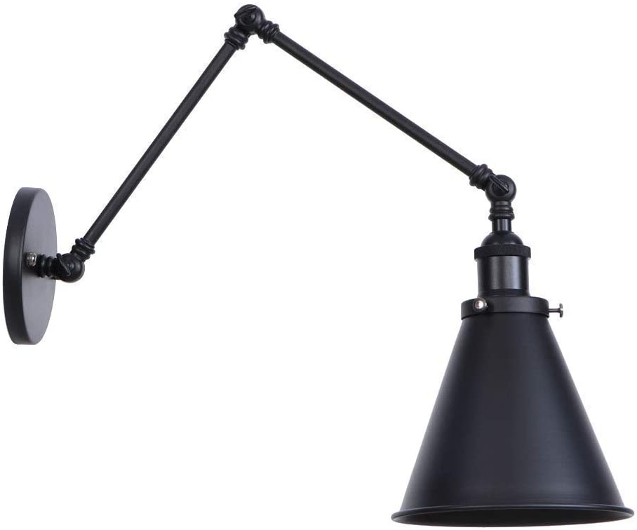 SkyTalent Wall Sconces Light Swing Long Arm Wall Lamp Vintage Industrial Wall Mounted Reading Light Fixture Metal Shade for Indoor Bedroom Restaurant Cafe (E26 Bulbs not Included) (30+15cm,Black A)