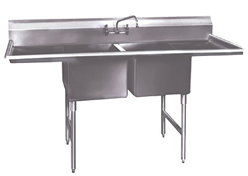 Winholt WS2T24242D24 SS Series Stainless Sink, 2 Compartment with 2 Drain Boards, 16 Gauge, 12
