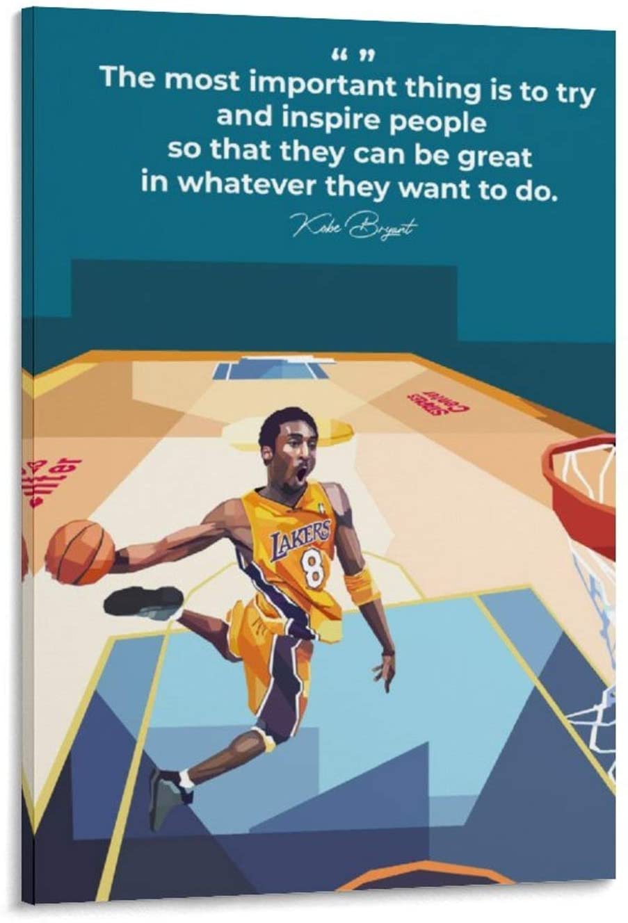 ADGAI Kobe Bryant Canvas Art Poster and Wall Art Picture Print Modern Family Bedroom Decor Posters 20x30inch(50x75cm)