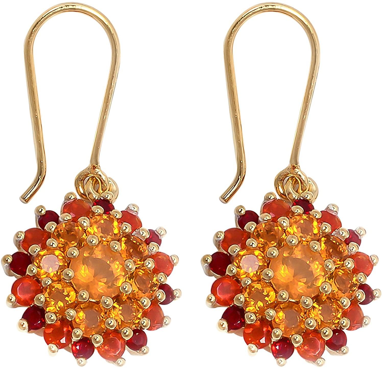 Carillon Brazilian Fire Opal Round Shape Gemstone Jewelry 925 Sterling Silver Drop Dangle Earrings For Women/Girls | Yellow Gold Plated