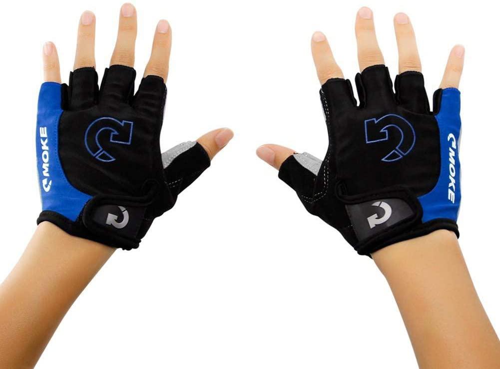 TJK 1Pair Cycling Gloves Bike Gloves, Half Finger Road Riding Gloves, Shock-Absorbing Gel Pad Breathable MTB Biking Gloves for Men Women