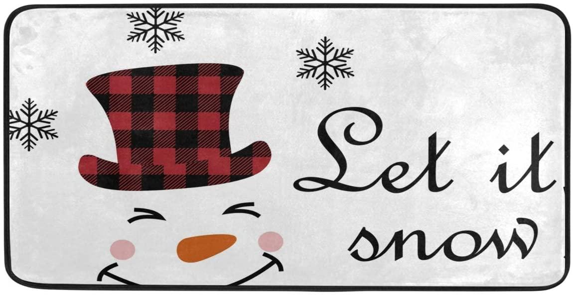 Doormat Area Rug Mat Snowman Face Let It Buffalo Plaid Merry Christmas for Bedroom Front Door Kitchen Indoors Home Decors