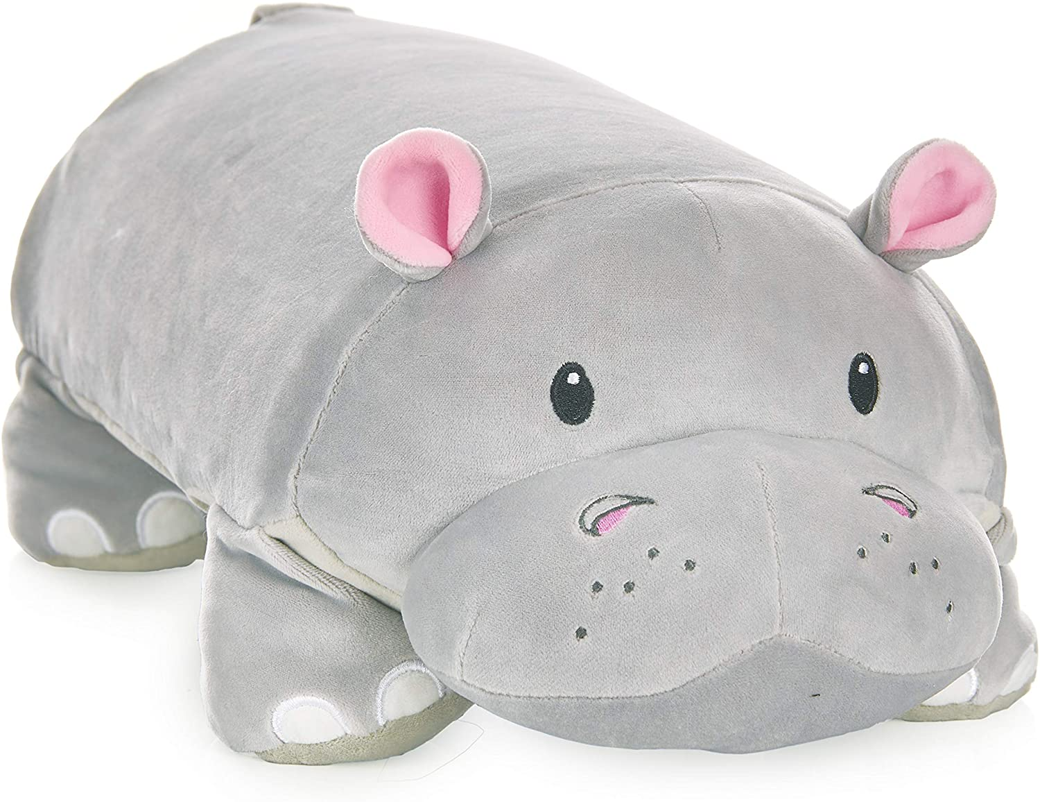 """MEMORY MATES Gloria The Hippo Memory Foam Pillow Plush with Kid's Diary That Stores in Belly Pocket, 15"""" Stuffed Animal, 6"""