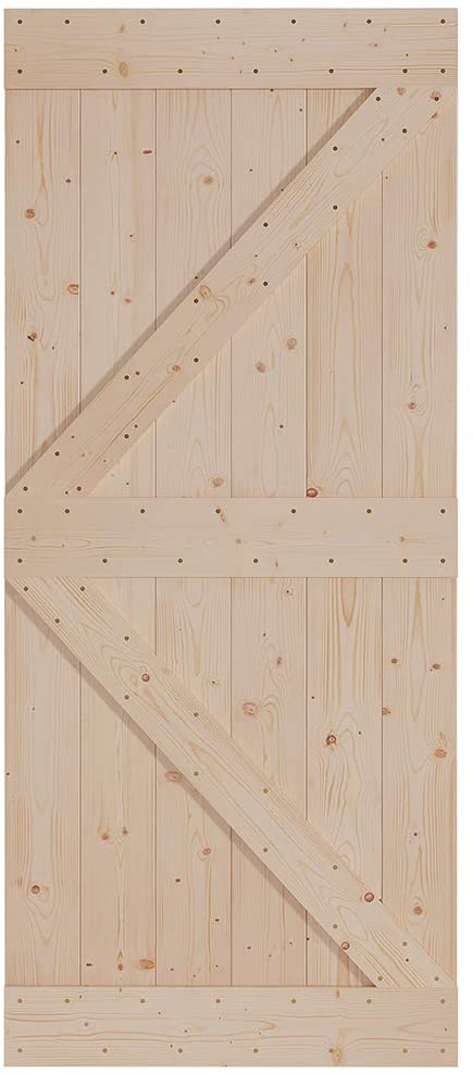 FREDBECK Sliding Barn Wood Door Slab DIY Unfinished Door 36in x 84in (Fit 6FT-6.6FT Rail)