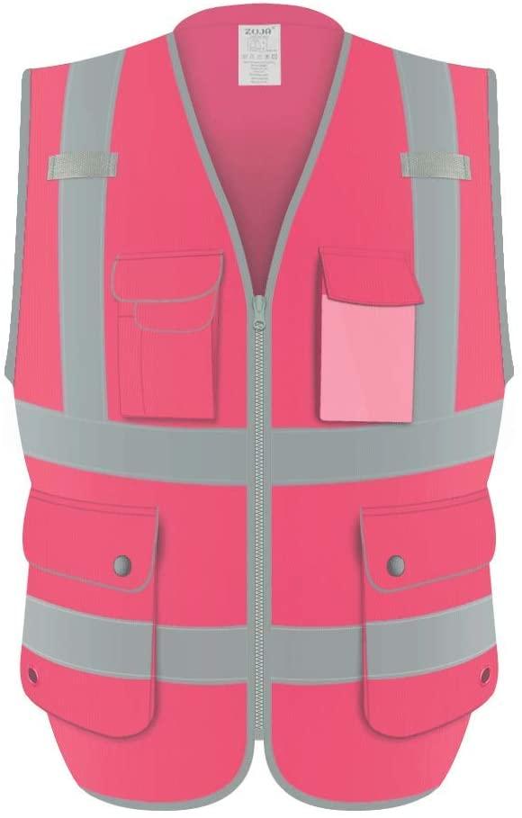 ZUJA Safety Vest ANSI/ISEA Standards High Visibility Pockets Reflective Vest for Men & Women (Pink,5XL)