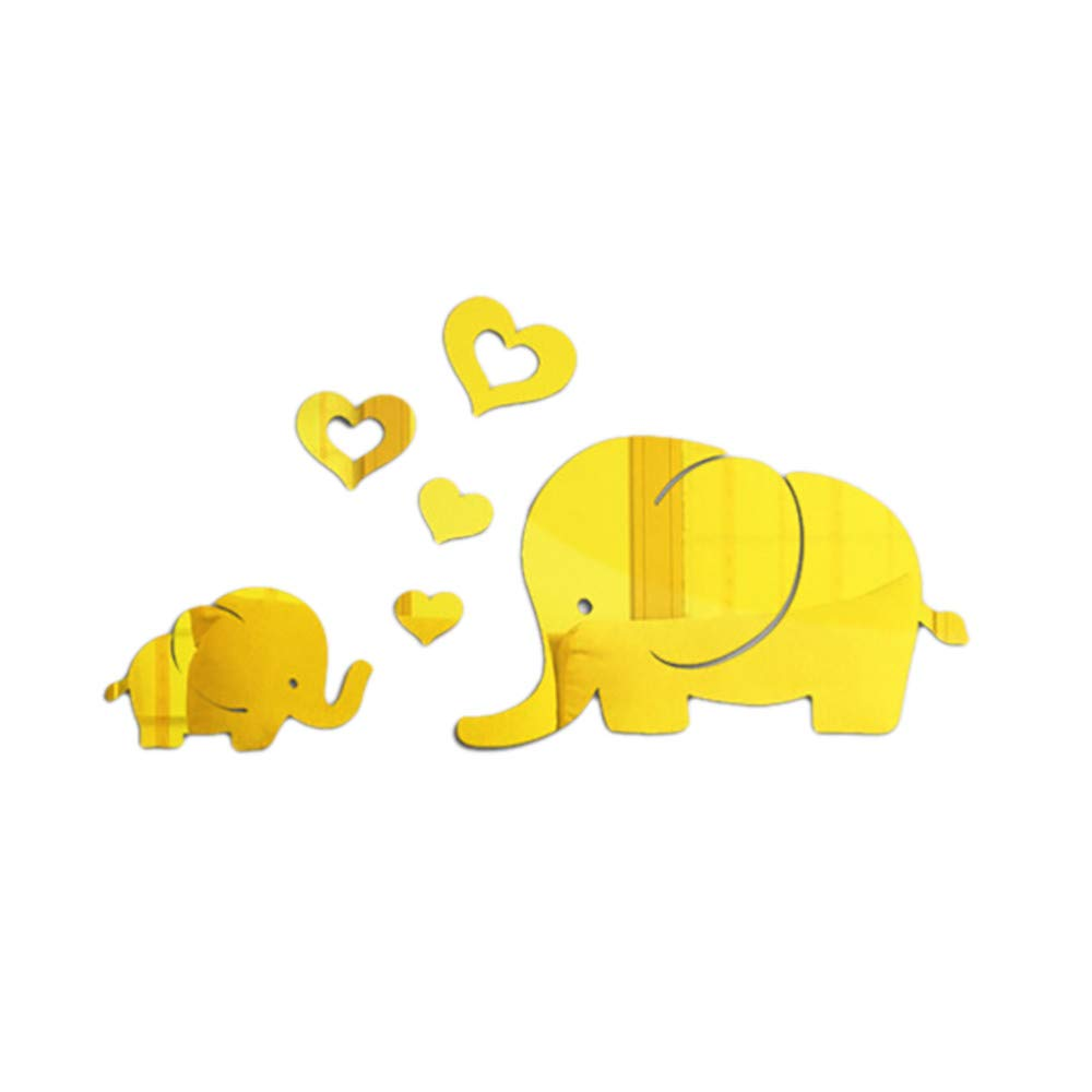 3D Acrylic Mirror Sticker DIY Removable Elephant Mirror Decal Wall Home Decor Kids Room Decoration Wall Sticker for Living Room Bedroom