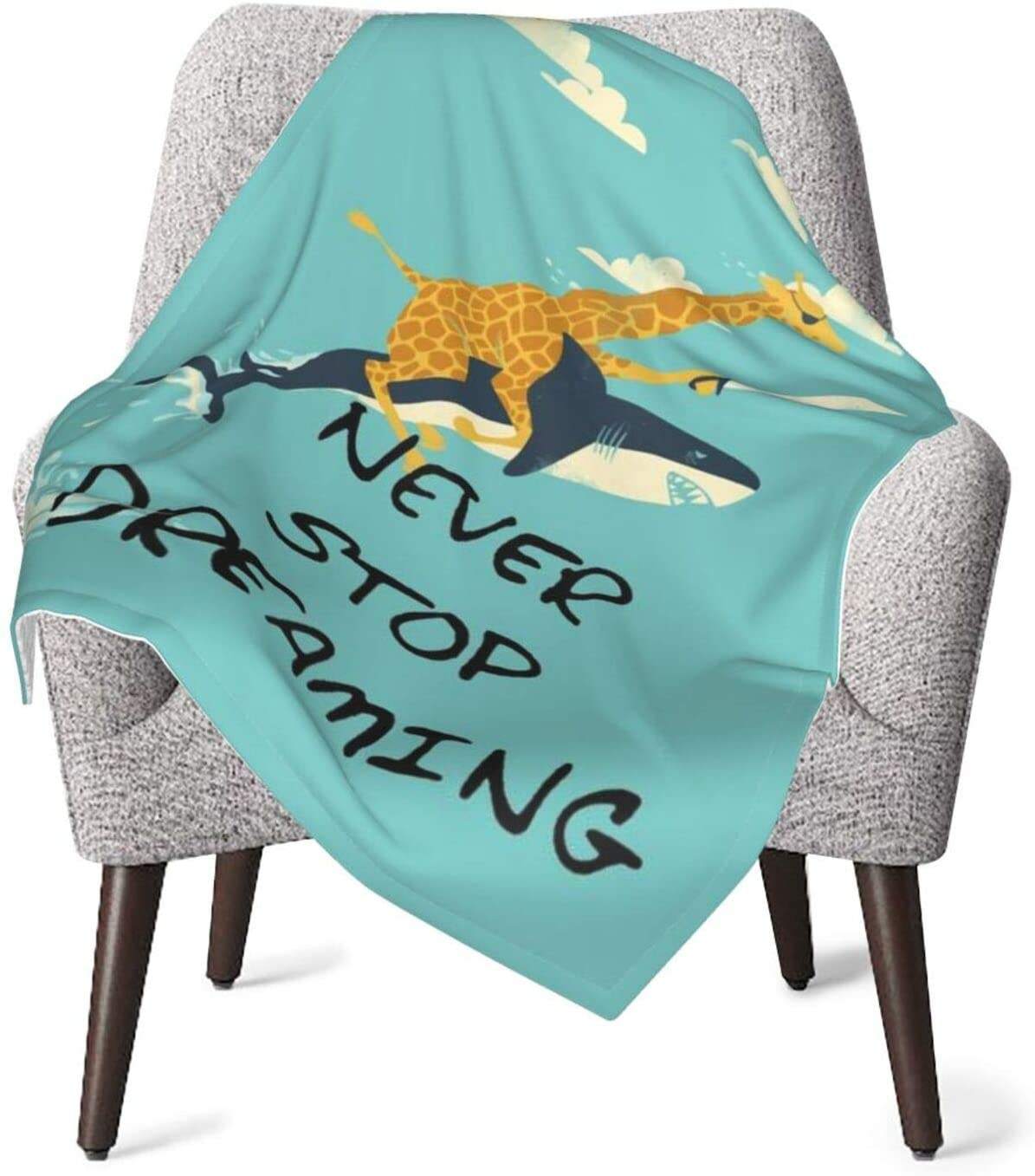 Kiuloam Inspirational Quote with Deer Shark Unisex Baby Blanket,Super Soft Plush Warm Bed Blanket for Toddler Baby Newborn Blanket All Season Ultra Soft,one Size