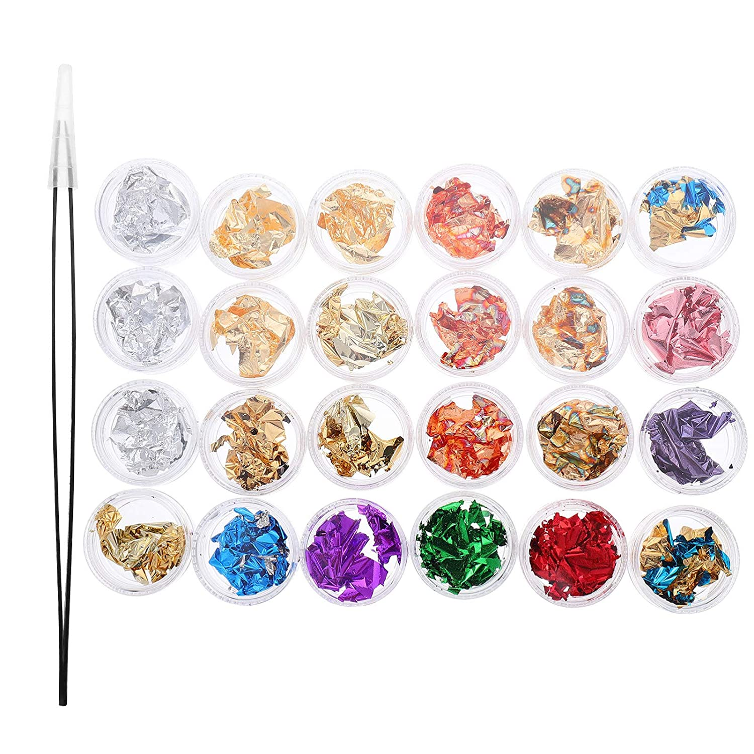 EXCEART 3pcs Gold Silver Nail Foil Flakes Mixed Color Imitation Gold Foil Genuine Copper Metallic Foil Flakes Gold Foil Flakes for Resin, Jewelry Making,Arts Projects