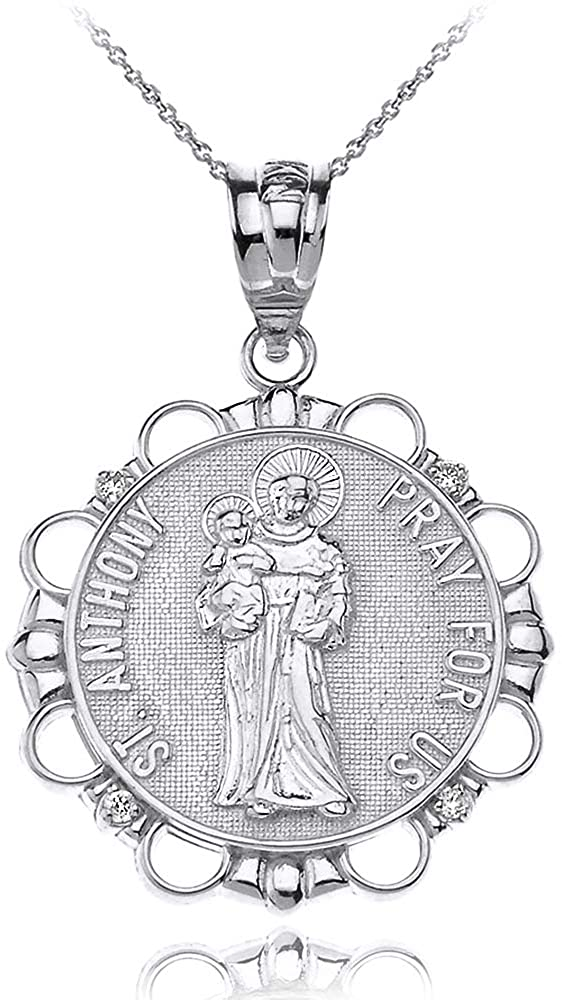Sterling Silver Round Saint Anthony Patron of Lost Articles Medal CZ Pendant Necklace