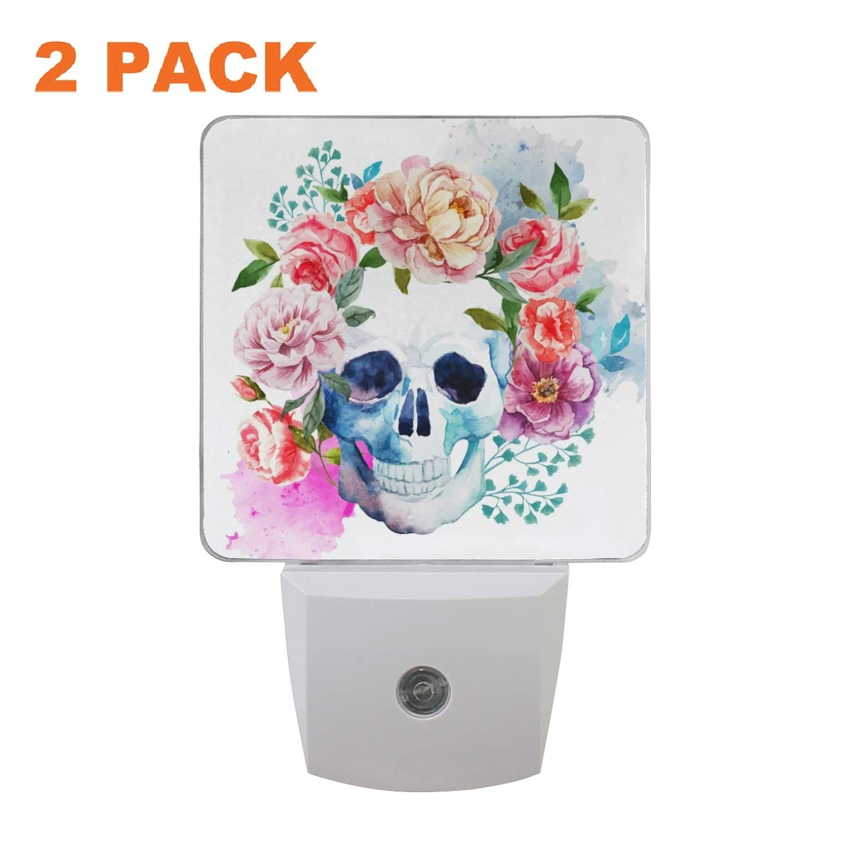 UMIRIKO Skull Flowers Night Light 2 Pack Gothic Watercolor Pattern LED Nightlights Lamp Plug into Wall Kids Room Decorative 0.5W Auto Dusk-to-Dawn for Bedroom 2020153