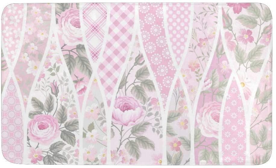 CUXWEOT Pink Floral Geometric Door Mat Non-Slip Backing Ultra Absorbent Welcome Doormat Entrance Door Rugs Decor Office Garden Kitchen Mats 23.6 x 15.7 Inch