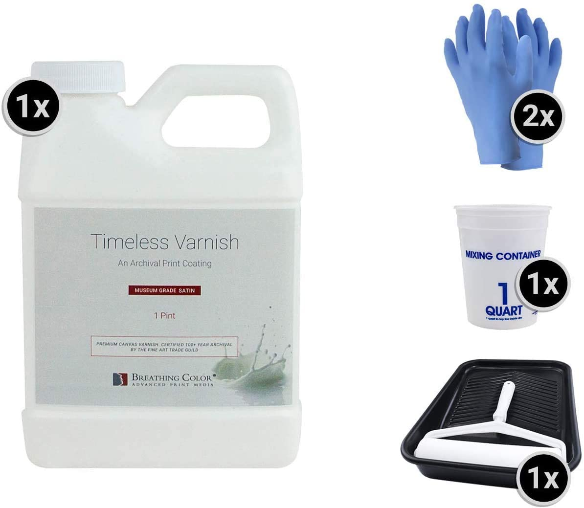 Timeless Archival Print Varnish Kit - 1 Pint, Satin Finish, Best Canvas Coating, Certified Archival Quality, Includes Foam Roller, Mixing Cups, and Gloves Bundle
