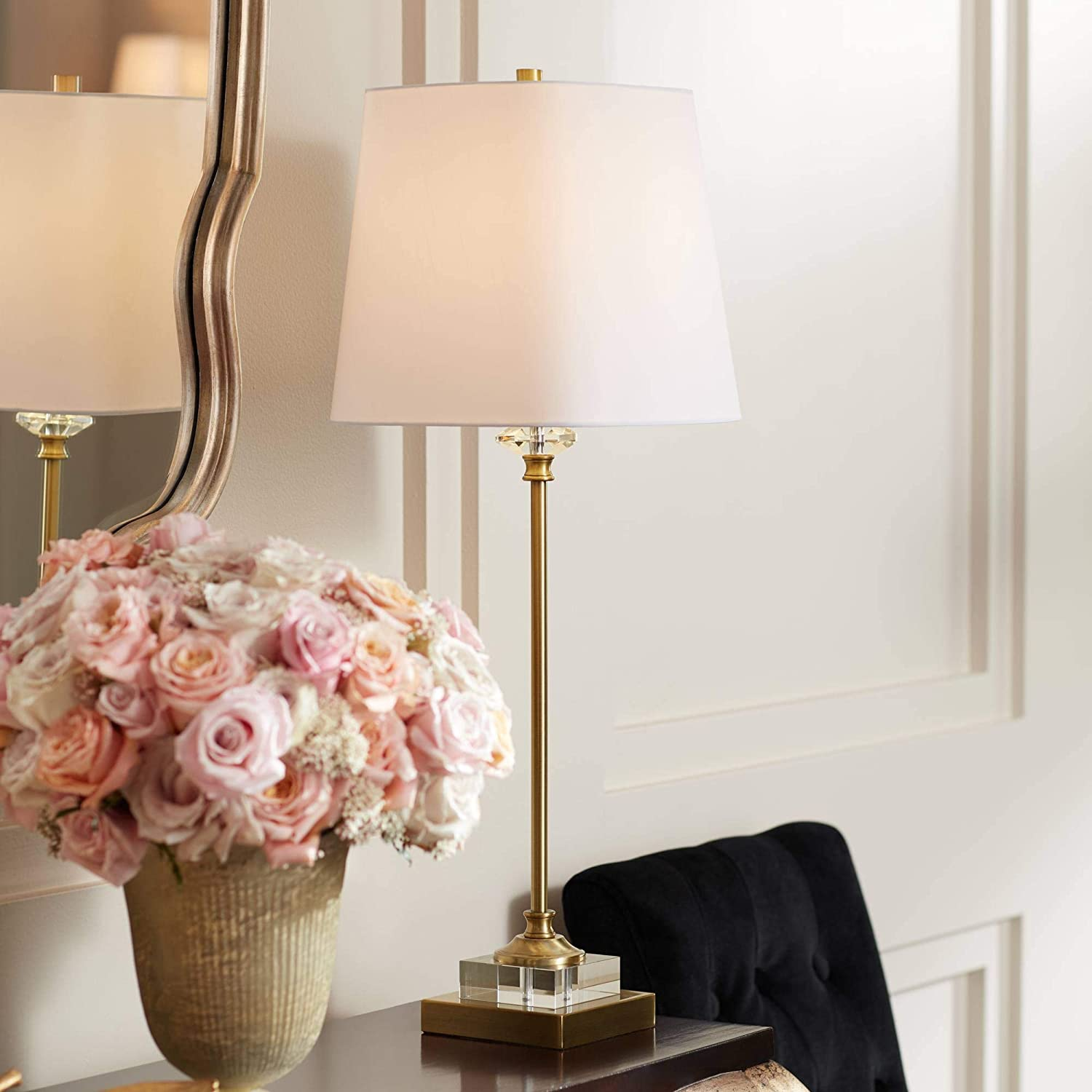 Julia Gold and Crystal Buffet Table Lamp with Table Top Dimmer - Regency Hill